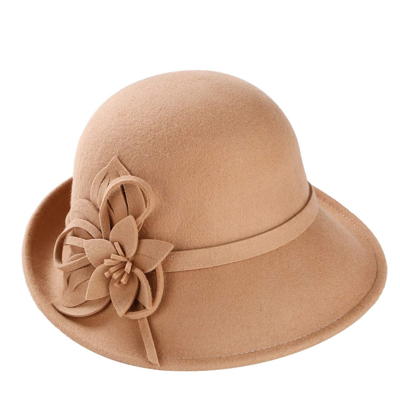 DOSOMI England Style Ladies Wool Fedoras Hats Wool Felt Hat Fashion Women Church Cloche Hat