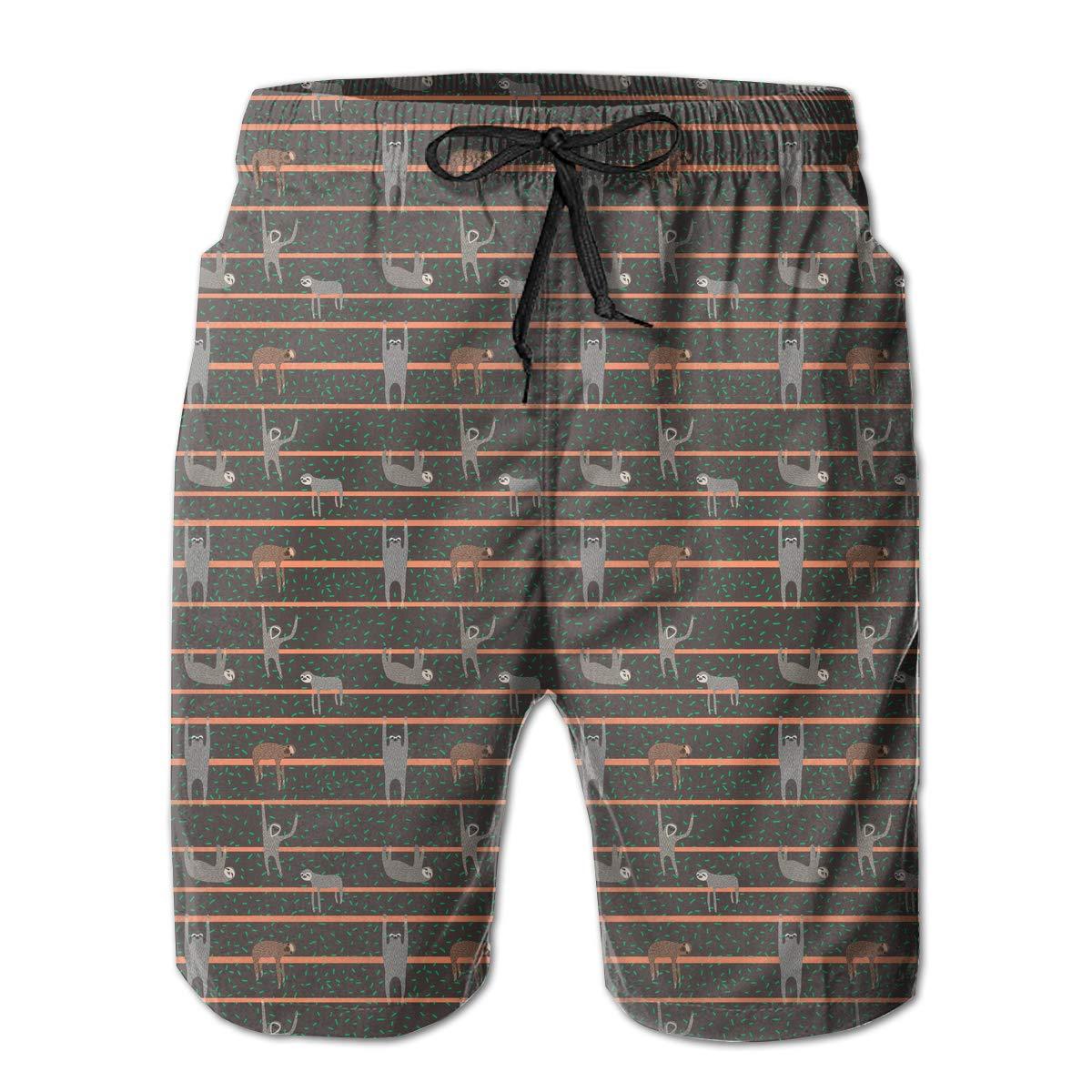 UHT28DG Cartoon Sloths Pattern Mens Printing Beach Board Shorts Drawstring Pockets Bathing Suit