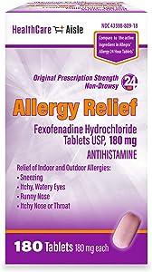 HealthCareAisle Allergy Relief Fexofenadine Hydrochloride Tablets, USP | 24 Hour Allergy Relief |180 mg| 180 Count