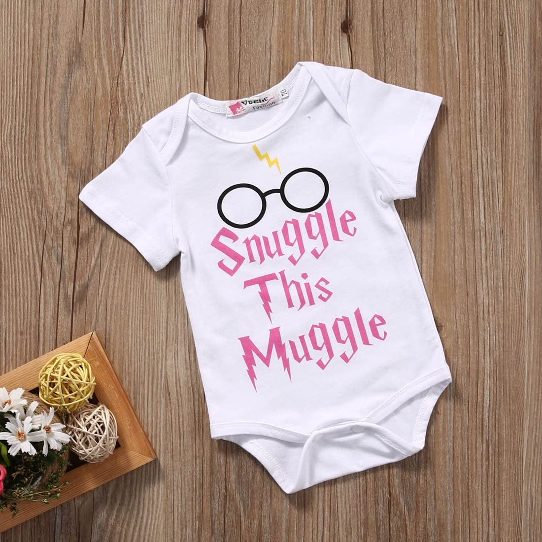 Baby Boys Girls Snuggle this Muggle Short Sleeve Bodysuit