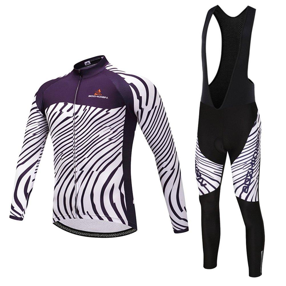 Uriah Men 's Cycling Jersey Long Sleeve and 3d Gelパッド入りよだれかけパンツブラックセット B0788Q8QJ1  ディープパープル XXXL(CN)
