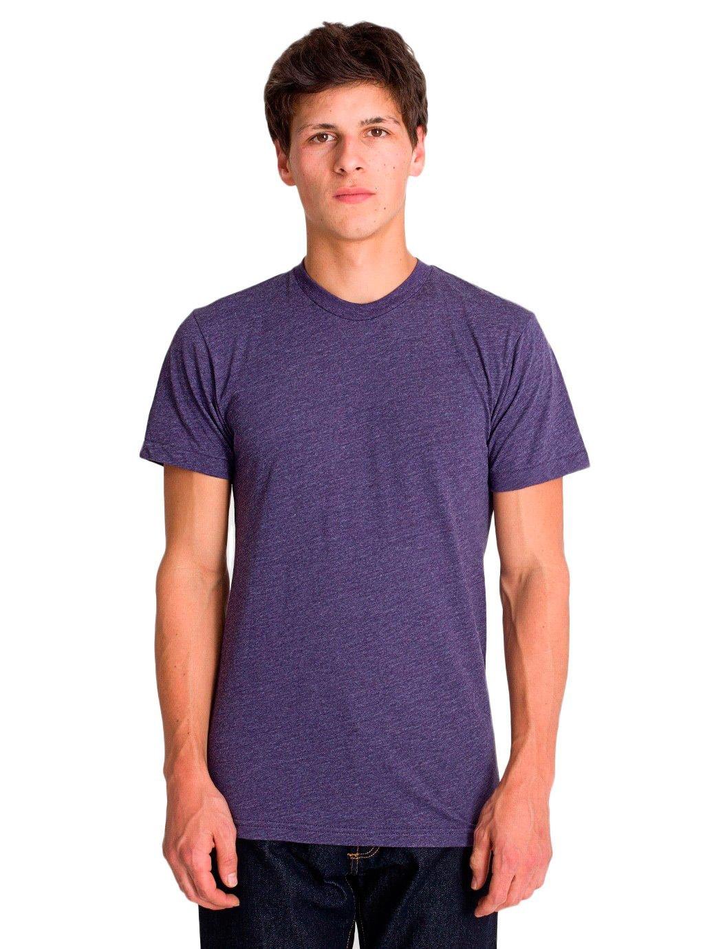 American Apparel Poly-Cotton Short Sleeve Crew Neck, Heather Imperial Purple, Medium