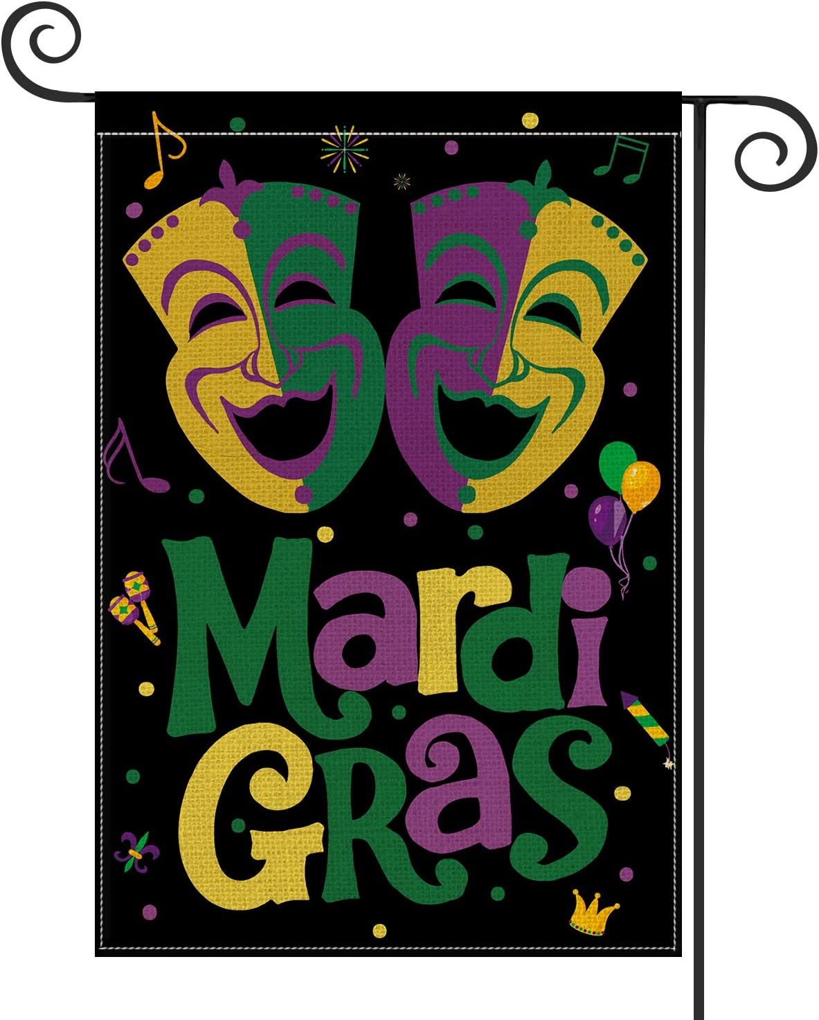 AVOIN Mardi Gras Mask Garden Flag Vertical Double Sized, Holiday Party Fleur de Lis Yard Outdoor Decoration 12.5 x 18 Inch