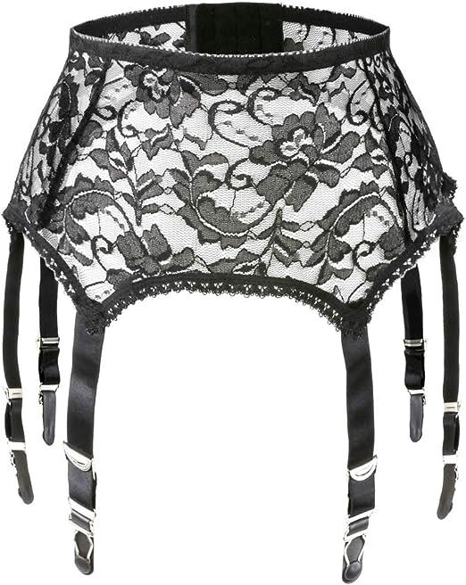 Slocyclub Mesh Suspender Belt for Stockings//Lingerie with 6 Metal Clip Adjustable Straps Garter Belt