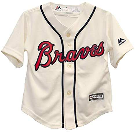 finest selection 9ff4e 76504 Majestic Infant/Toddler MLB Atlanta Braves Ivory Off-White Baseball Jersey