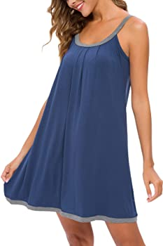 Women Irregular Sleeveless Tank Vest Dress Nightgown Sleepwear Loose Cotton Soft