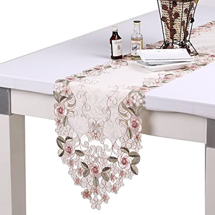 Homandu0027o Pink Rose Embroidery Table Runner Leaf Jacquard 11 By 67 Inches  For Summer