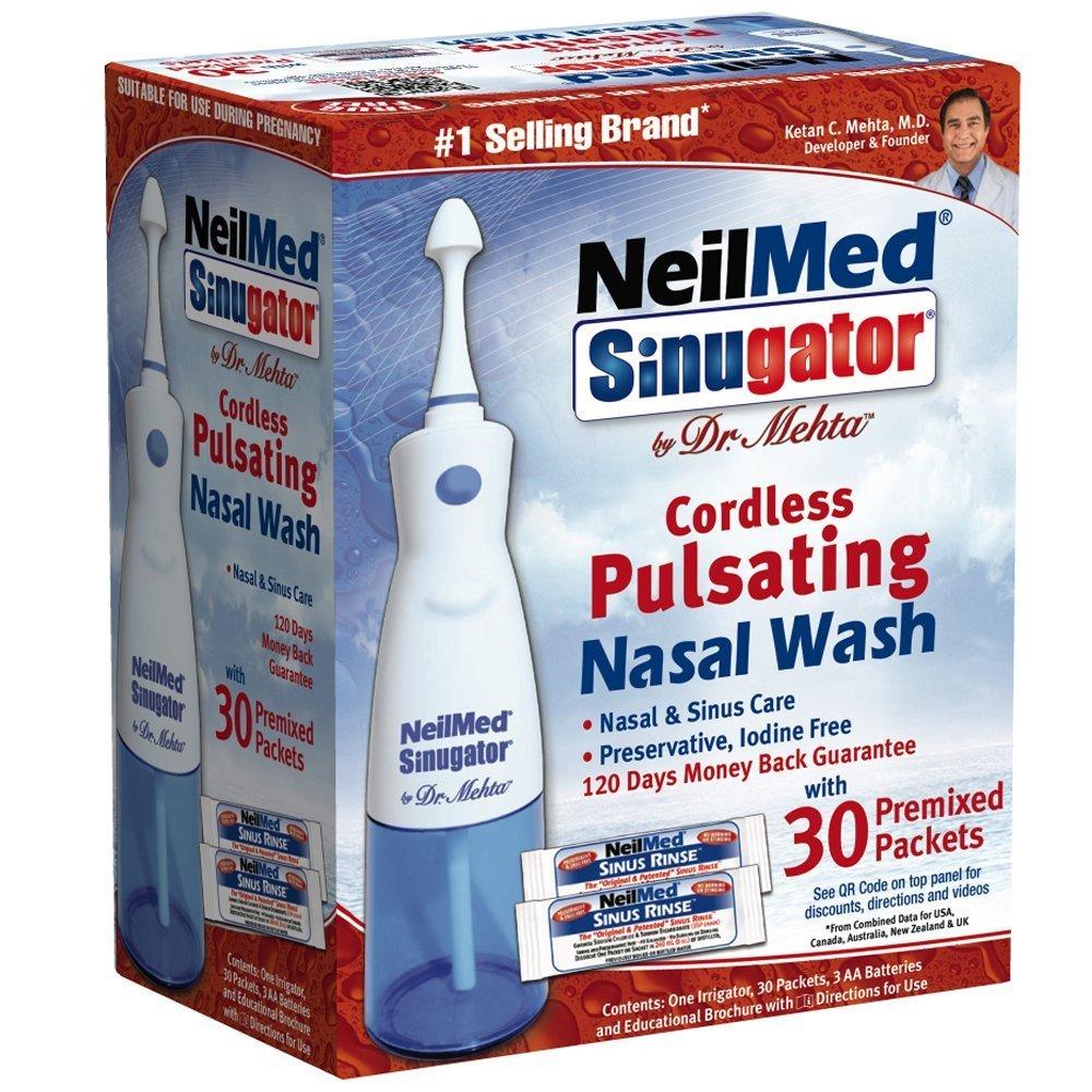 NeilMed Sinugator Cordless Pulsating Nasal Wash with 30 Premixed Packets (Pack of 3) , NeilMed-k5