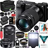Sony a6100 Mirrorless Camera 4K APS-C ILCE-6100YB with 2 Lens Kit 16-50mm + 55-210mm and Deco Gear Case + Extra Battery + Fla