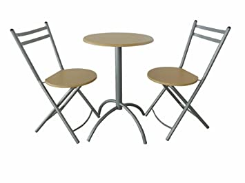 3tlg Bistro Set Bar Sitzgruppe Stuhl Tisch Fichte Metall Esszimmer