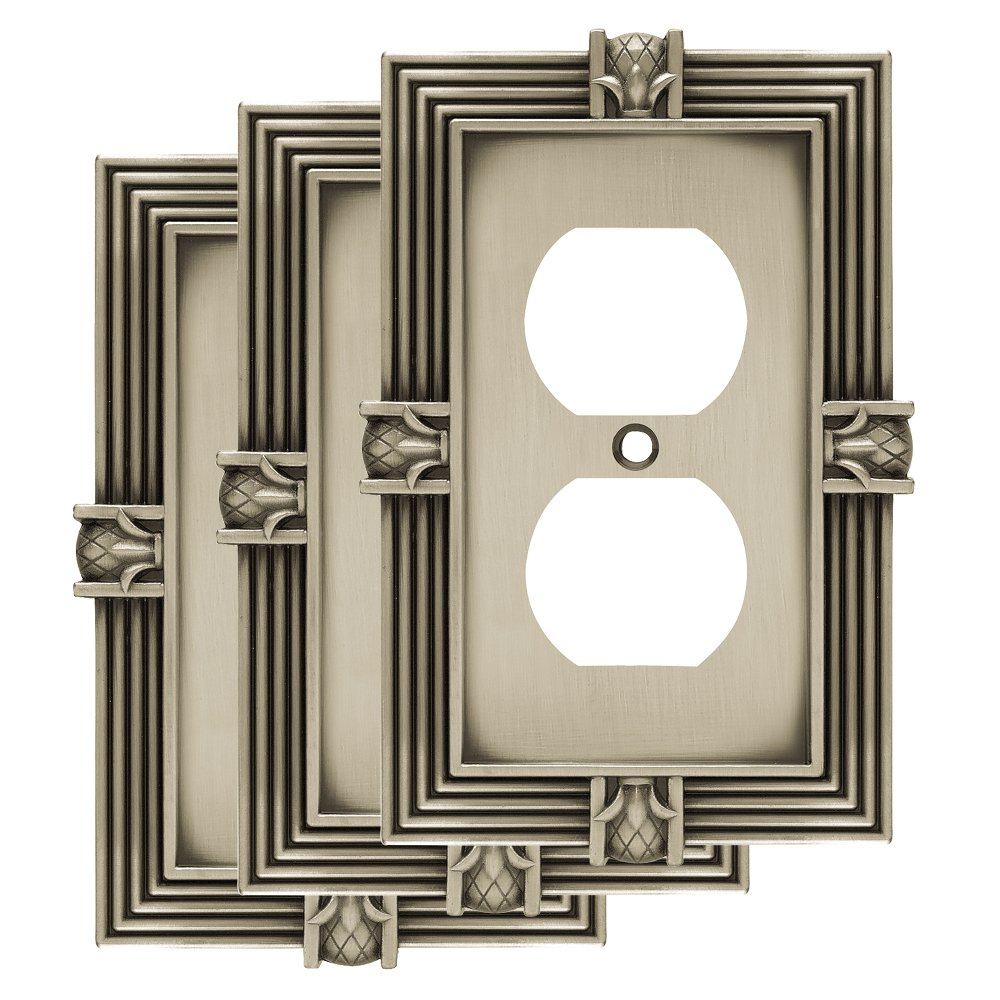 Franklin Brass W10274V-BSP-R Pineapple single Duplex Outlet Wall Plate / Switch Plate / Cover, Brushed Satin Pewter, 3 Pack,