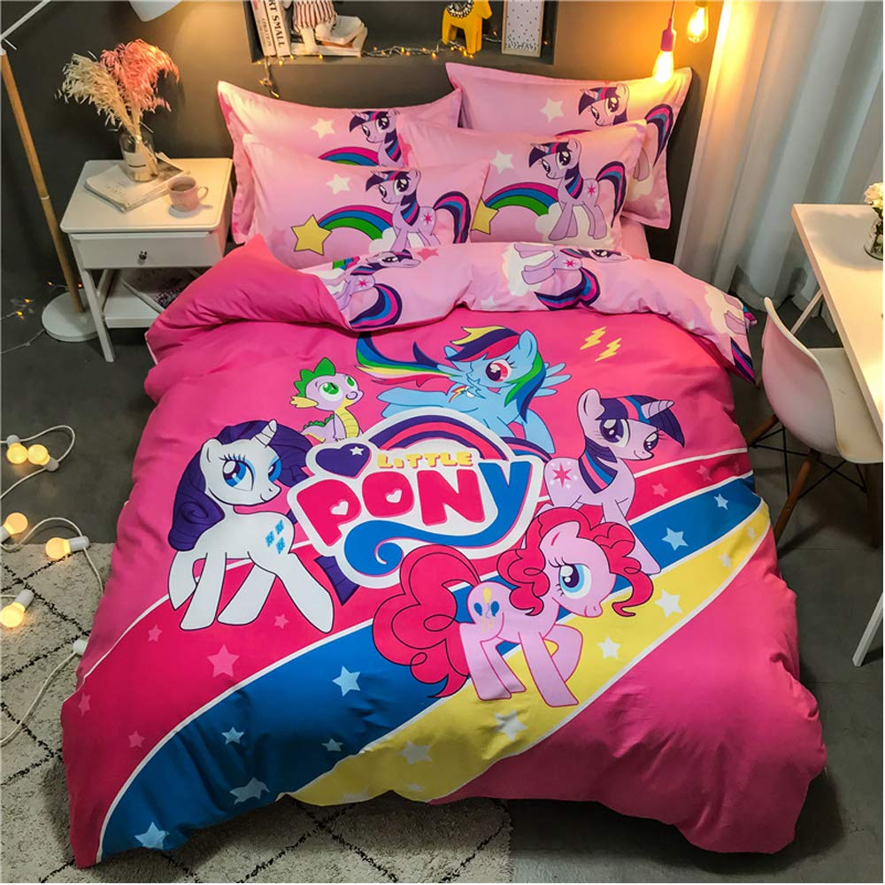 100% Cotton Duvet Cover My Little Pony Girls Kids Bedding Including 1 Duvet Cover + 1 Flat Sheet + 2 Pillowcase /4 Piece (A, Full(200X230)