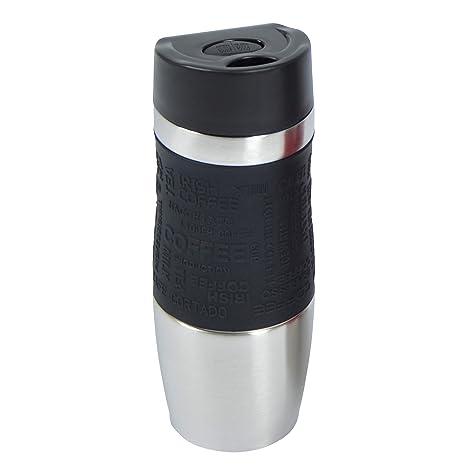 Vaso isotérmico de la marca Ocean5 vaso aislante de acero inoxidable, manejo con una mano 350ml , coffee to go al pulsar el botón , Travel Mug, color: ...