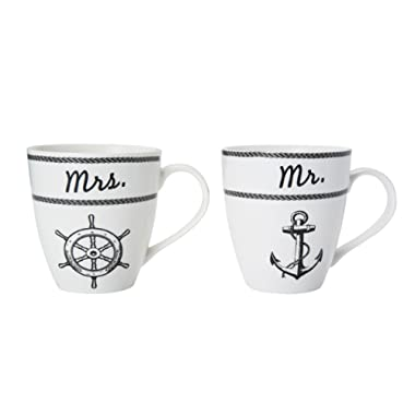 Pfaltzgraff  Mr. & Mrs. Nautical  Everyday Mug (Set of 2), 18 oz, Assorted