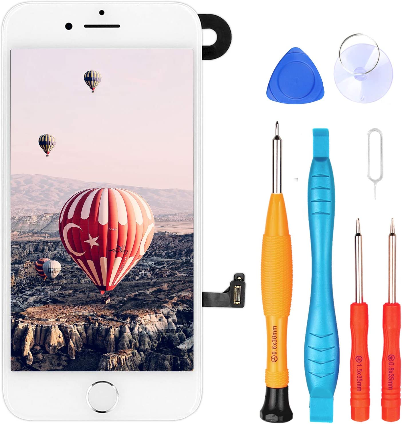 Ayake for iPhone 7 Plus Screen Replacement with Home Button, Full Assembly Retina LCD Touch Display Digitizer with Front Camera+Earpiece Speaker+Proximity Sensor+Tools for A1661, A1784, A1785 (White)