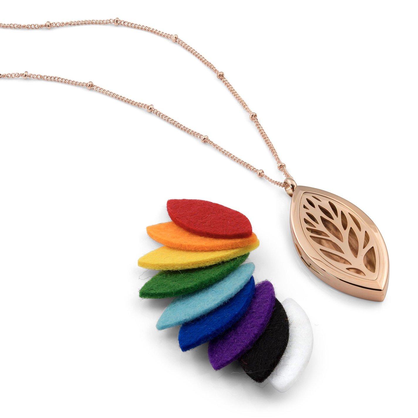 Leaf Diffuser Necklace (Rose Gold)
