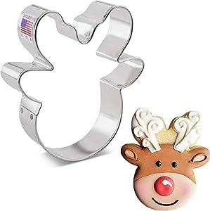 Ann Clark Cookie Cutters Reindeer Head / Face Cookie Cutter by Flour Box Bakery, 4