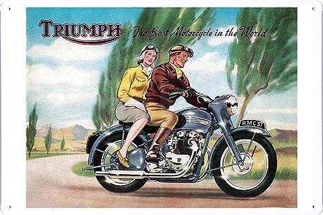Amazon.com: Triumph pareja Póster de lata de las motos de ...