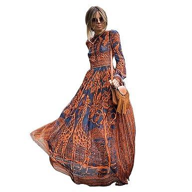 Bohemise Women Fashion Dresses Chiffon Long-Sleeved Prints Maxi Elegant Casual Party Dresses Vestidos as