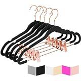 Premium Velvet Pants Hangers with Clips (Pack of 20) Slim Skirt Hangers- Non Slip Felt Outfit Dress Hangers Black…