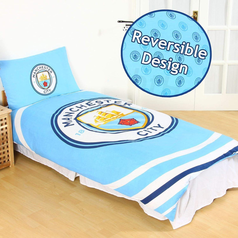 Official Manchester City Football Club Blue Pulse Reversible Single Duvet Set