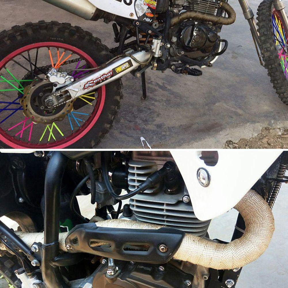1,5 mm de Grosor Cinta Aislante para Tubo de Escape Motocicleta Horno y maquinaria agr/ícola Baiwka con 4 Bridas para Coche