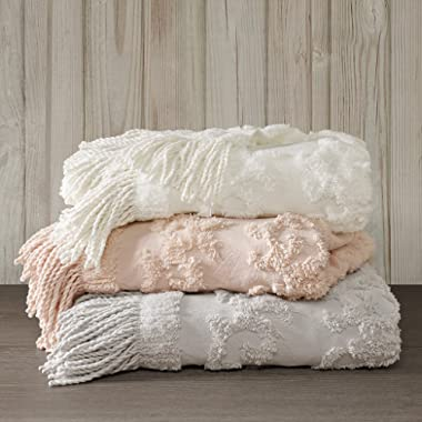 Madison Park Chloe 100% Cotton Tufted Chenille Design With Fringe Tassel Luxury Elegant Chic Throw Blanket For Couch, Bed, 50X60  Inches, Ivory