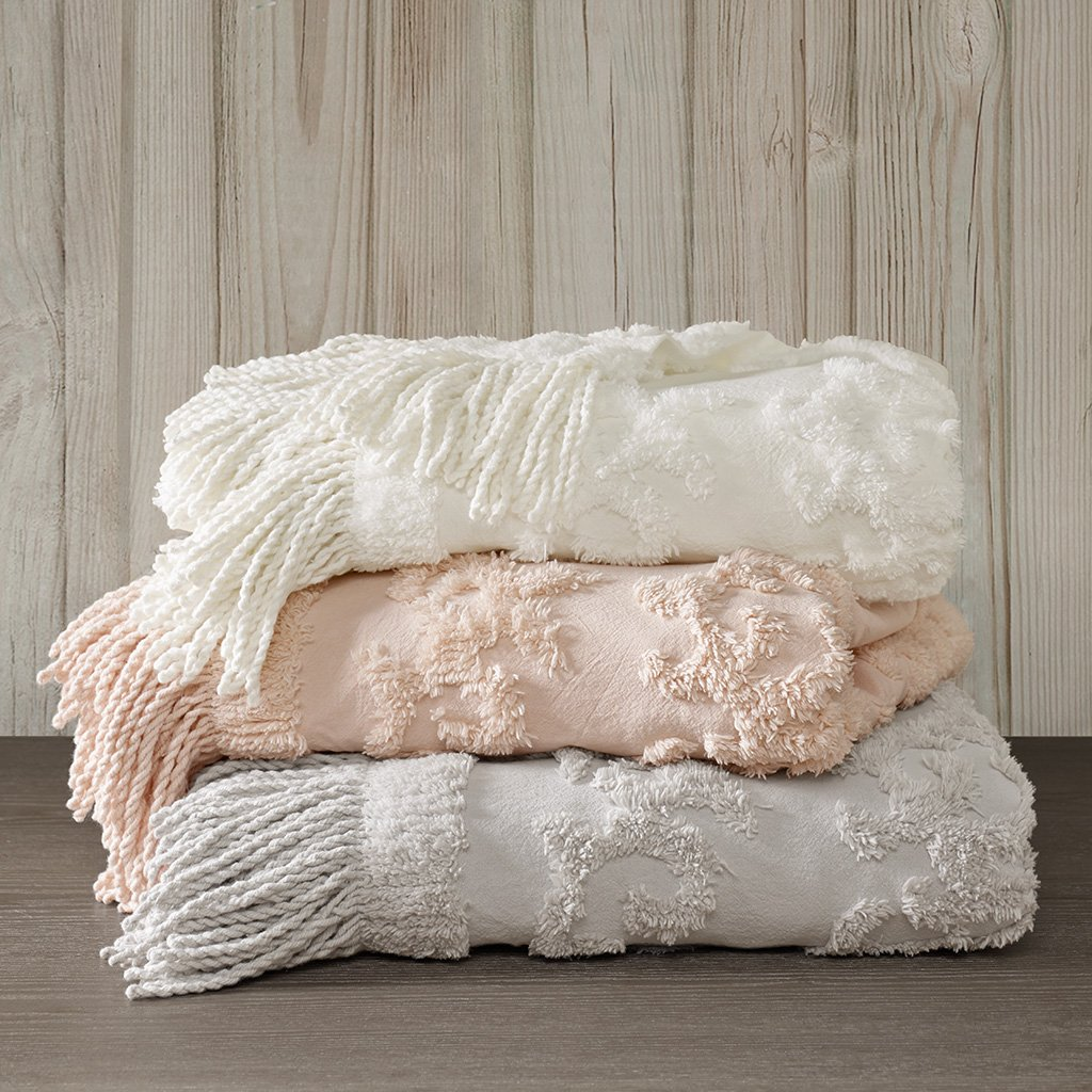 Madison Park Chloe 100% Cotton Tufted Chenille Design With Fringe Tassel Luxury Elegant Chic Throw Blanket For Couch, Bed, 50X60'' Inches, Blush