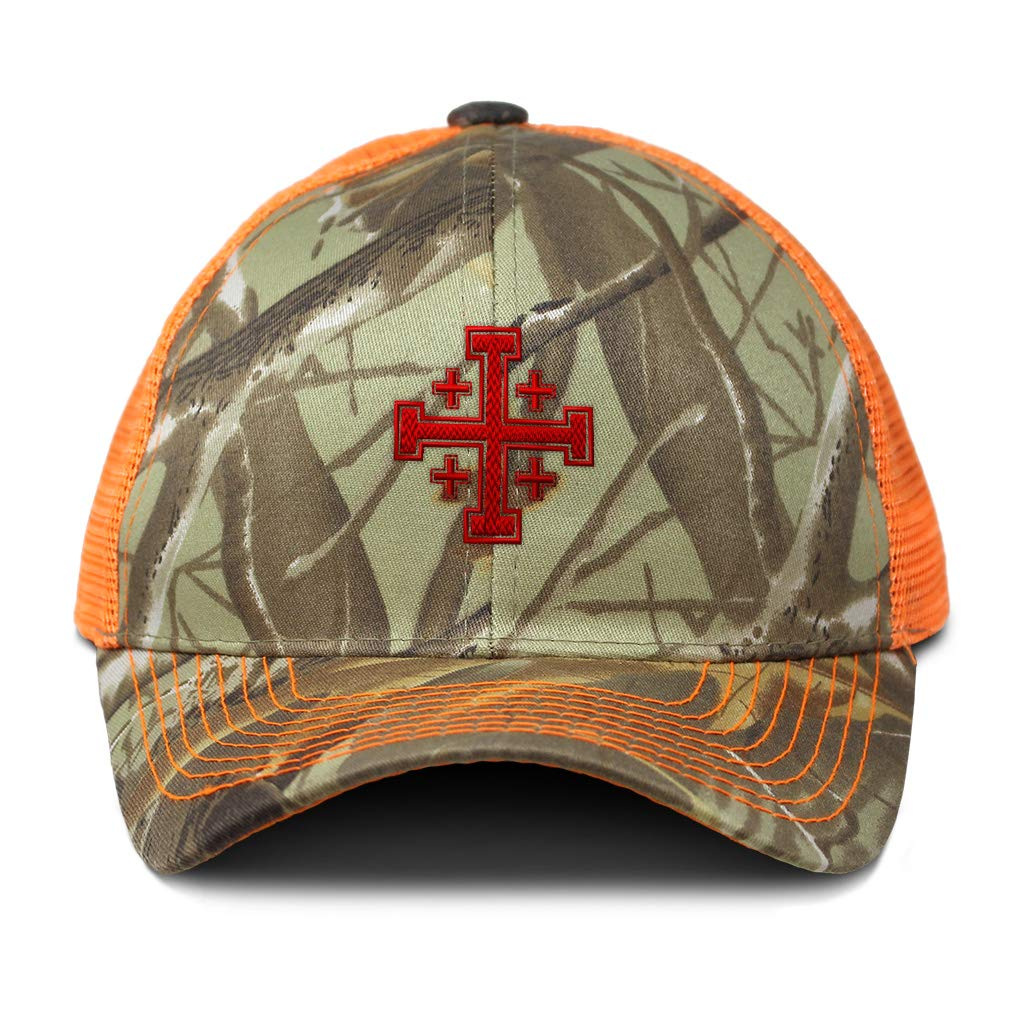Custom Camo Mesh Trucker Hat Jerusalem Cross Embroidery Cotton One Size