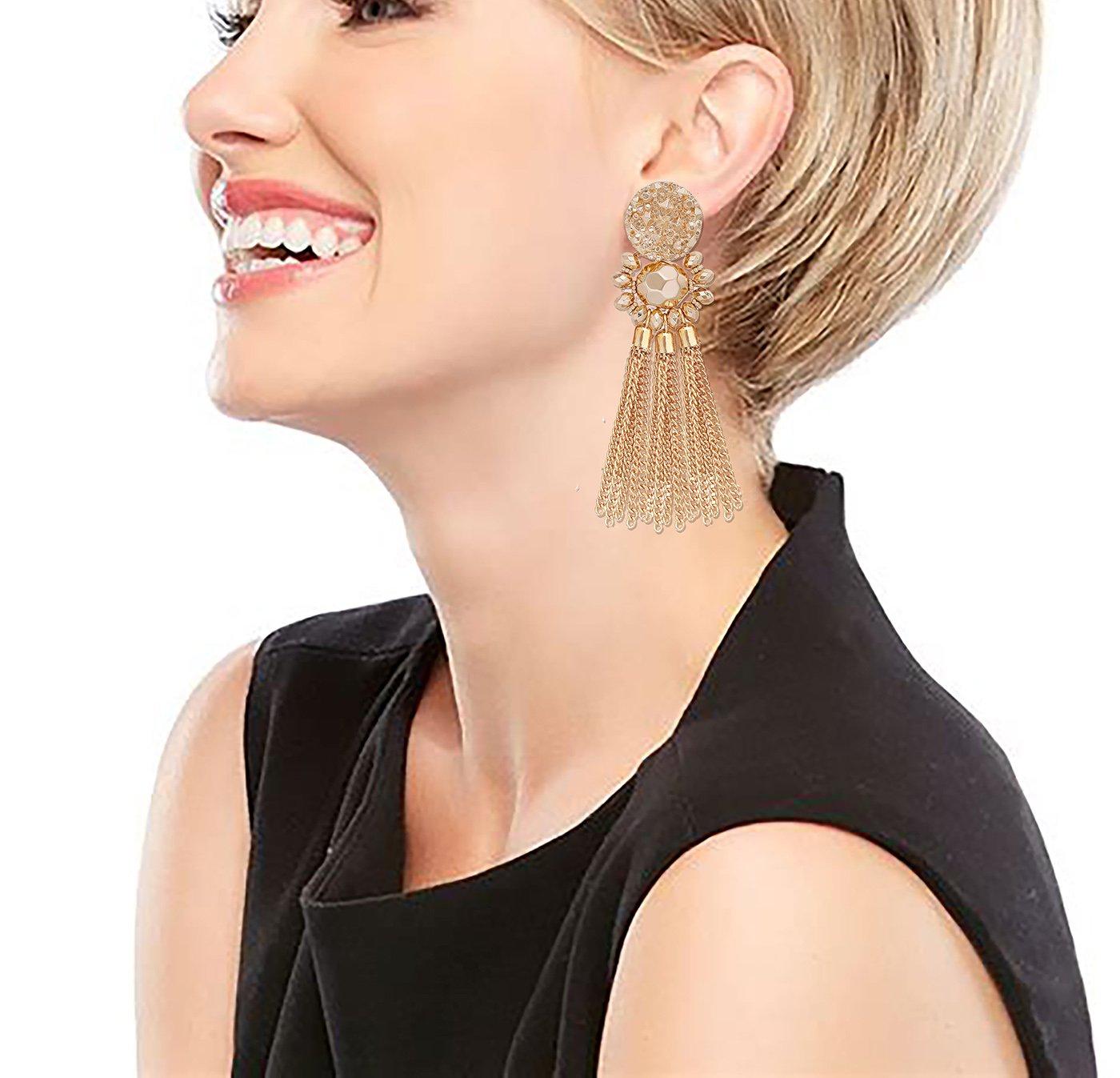 Bohemian Statement Tassel Chandelier Drop Dangle Earrings with Cassandra Button Stud (gold) by LPON (Image #2)