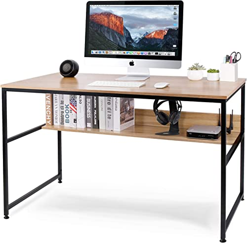 Homekoko 47 Home Office Desk Computer Desk with Storage Bookshelf Study Table Writing Desk