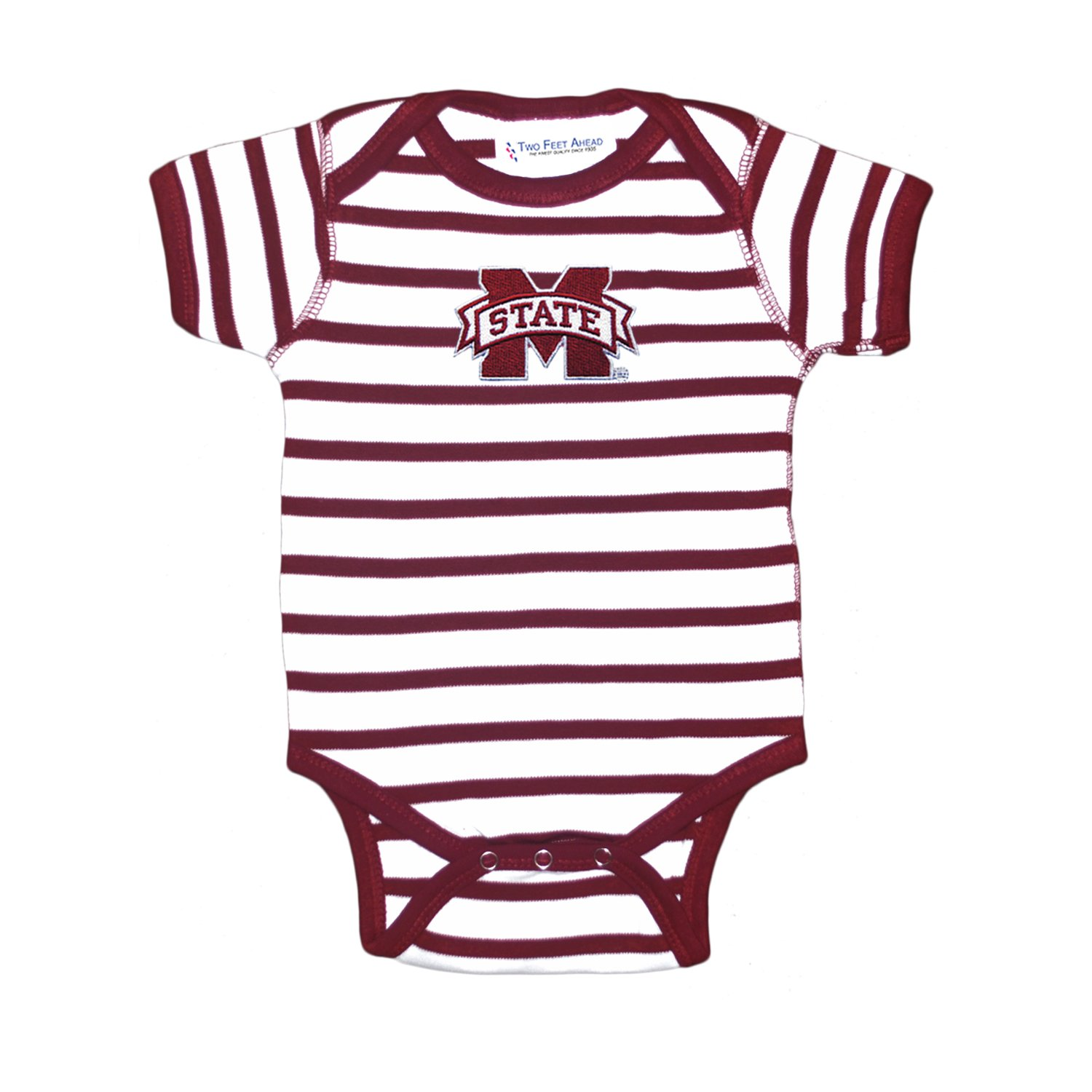 Mississippi State Bulldogs Striped NCAA College Newborn Infant Baby Creeper