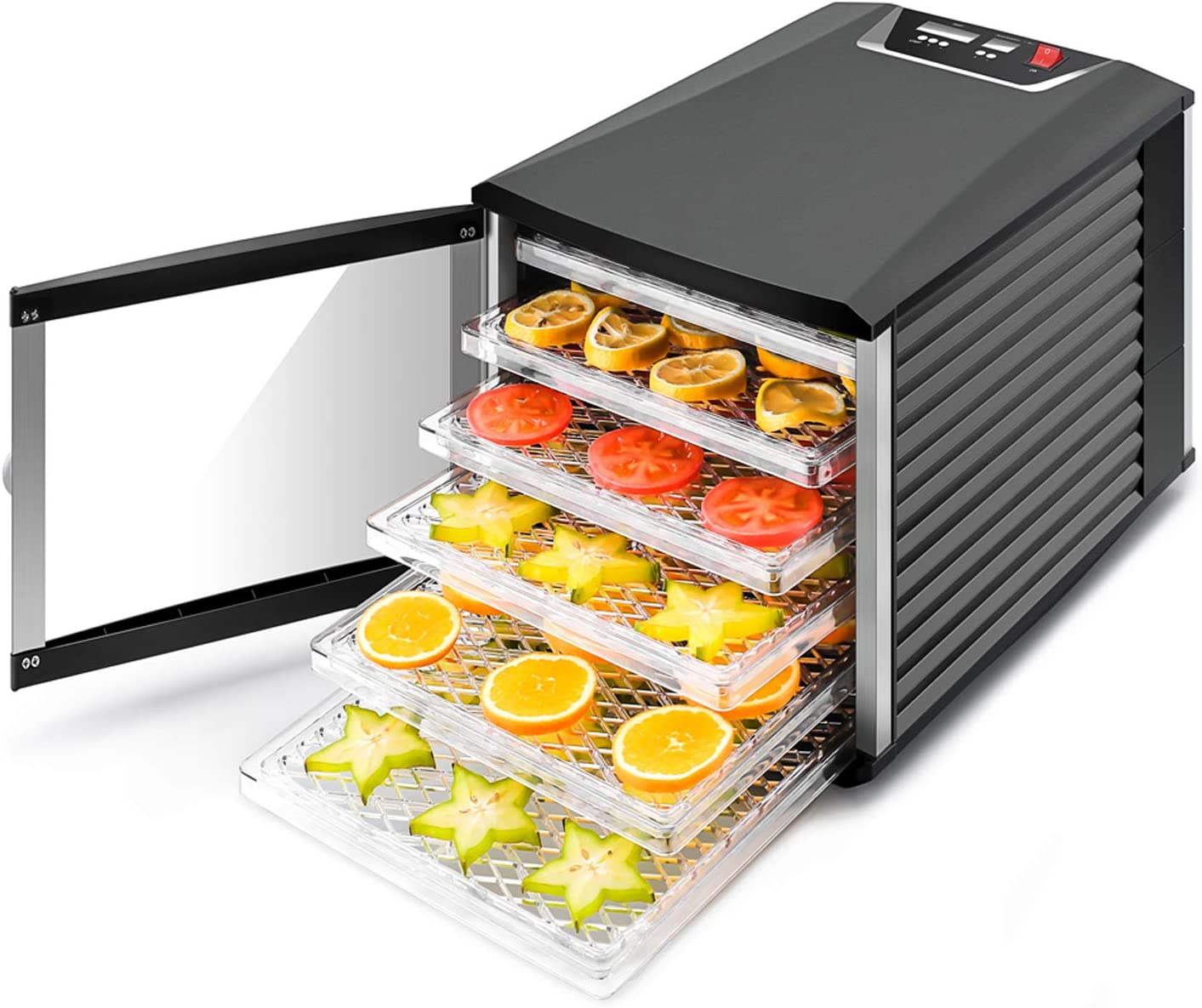 JAYETEC Professional Food Dehydrator, 6-Trays with Digital Thermostat and Timer, fruit, vegetables, meat, flowers, herbs, beef dryer,transparent front door black including 2 pcs non-stick sheets