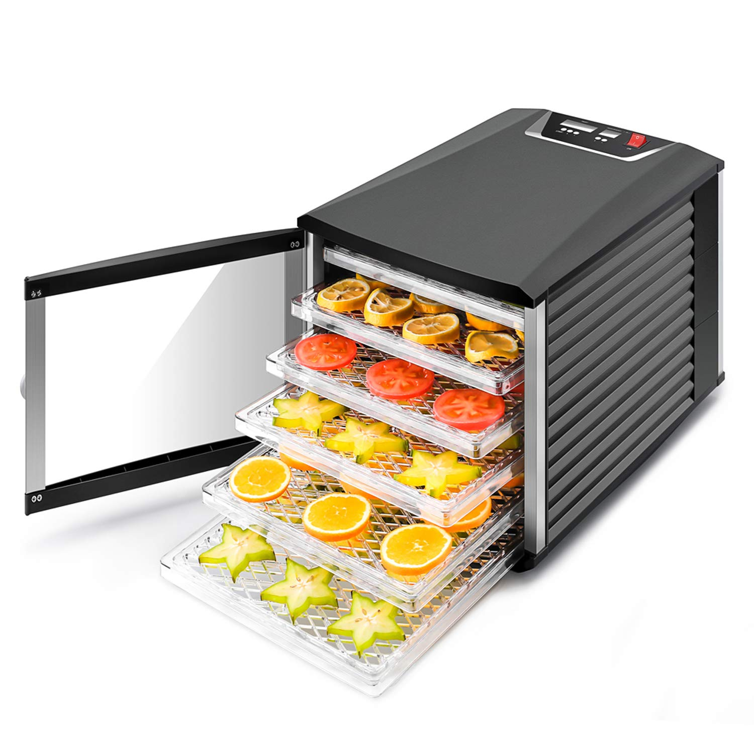 JAYETEC Professional Food Dehydrator, 6-Trays with Digital Thermostat and Timer, fruit, vegetables, meat, flowers, herbs, beef dryer,transparent front door & black,including 2 pcs non-stick sheets by JAYETEC