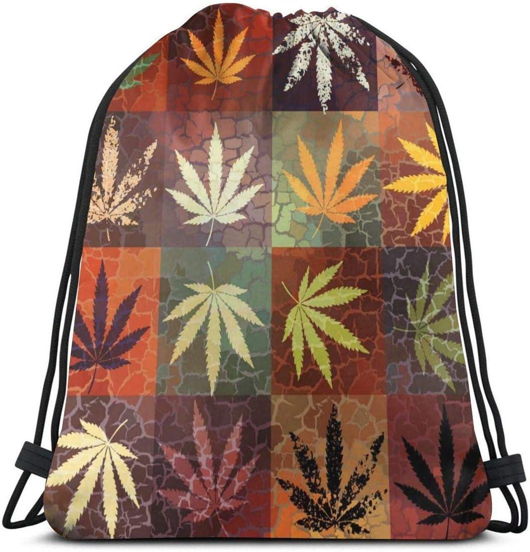 surce Hojas de Marihuana Cannabis Grunge Hojas de cáñamo Bolsa de Gimnasia Bolsa con cordón Unisex Saco de cincho Ligero Duradero Gran Capacidad para Deportes Viajar Senderismo Acampar