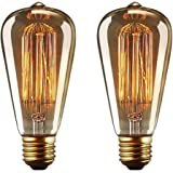 YUNLIGHTS Vintage Edison Light Bulbs Retro Old Fashioned Style Screw Bulb E27 Dimmable Decorative Spiral Filament Lamp 220-240V 40W Warm White Lights - 2 Pack