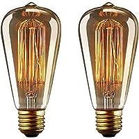 YUNLIGHTS 2 Pack Dimmable Edison Lampe ST64 220-240V 40W 140lm E27 Edison Ampoule Antique Lampe Filament Vintage Blanc Chaud