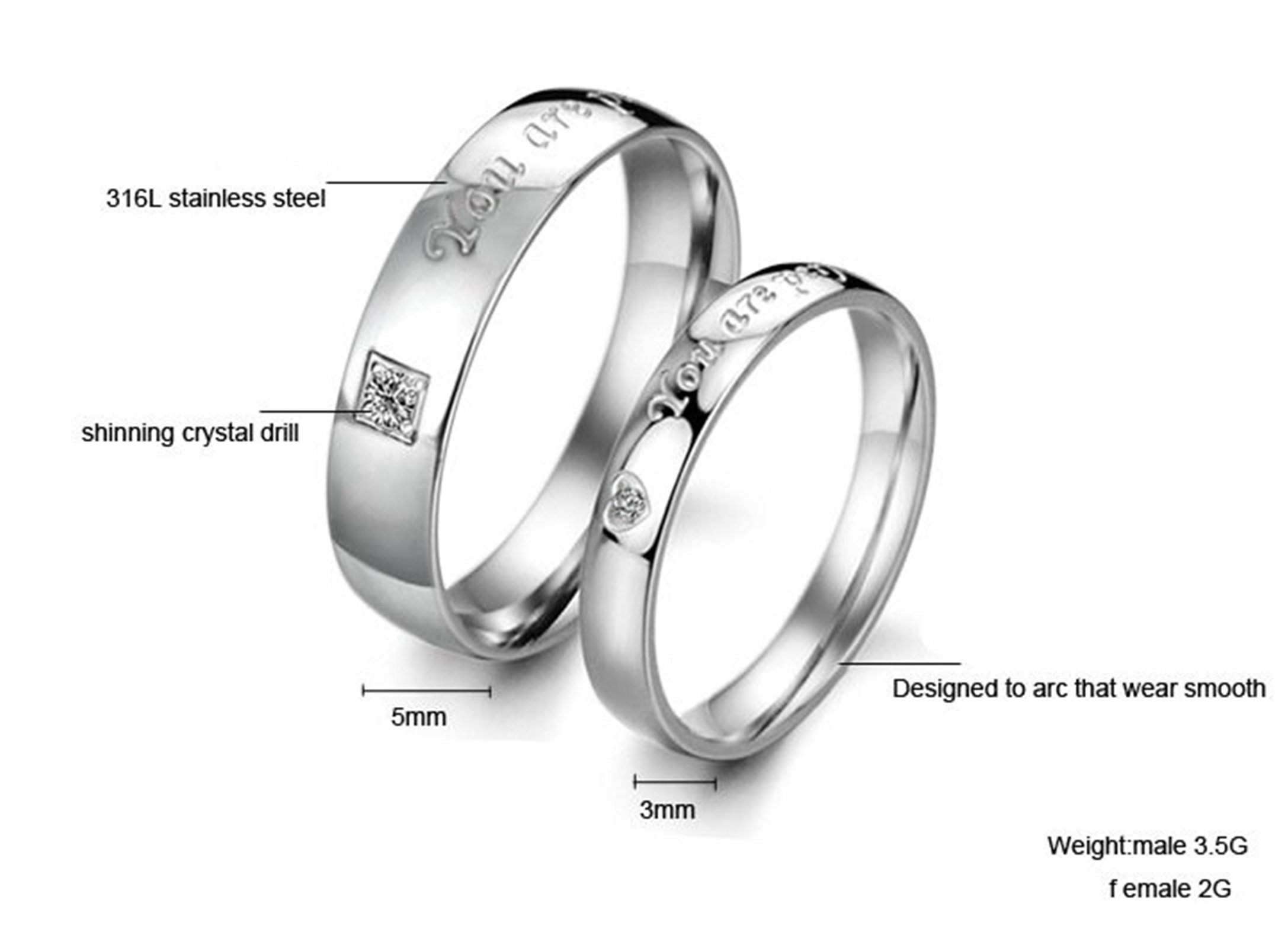 Beydodo 1PCS Stainless Steel Ring 7 Engraving You Are Perfect In My Heart Width Wedding Rings Mens by Beydodo (Image #2)