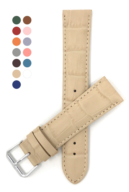 18mm Beige Womens' Alligator Style Genuine Leather Watch Strap Band