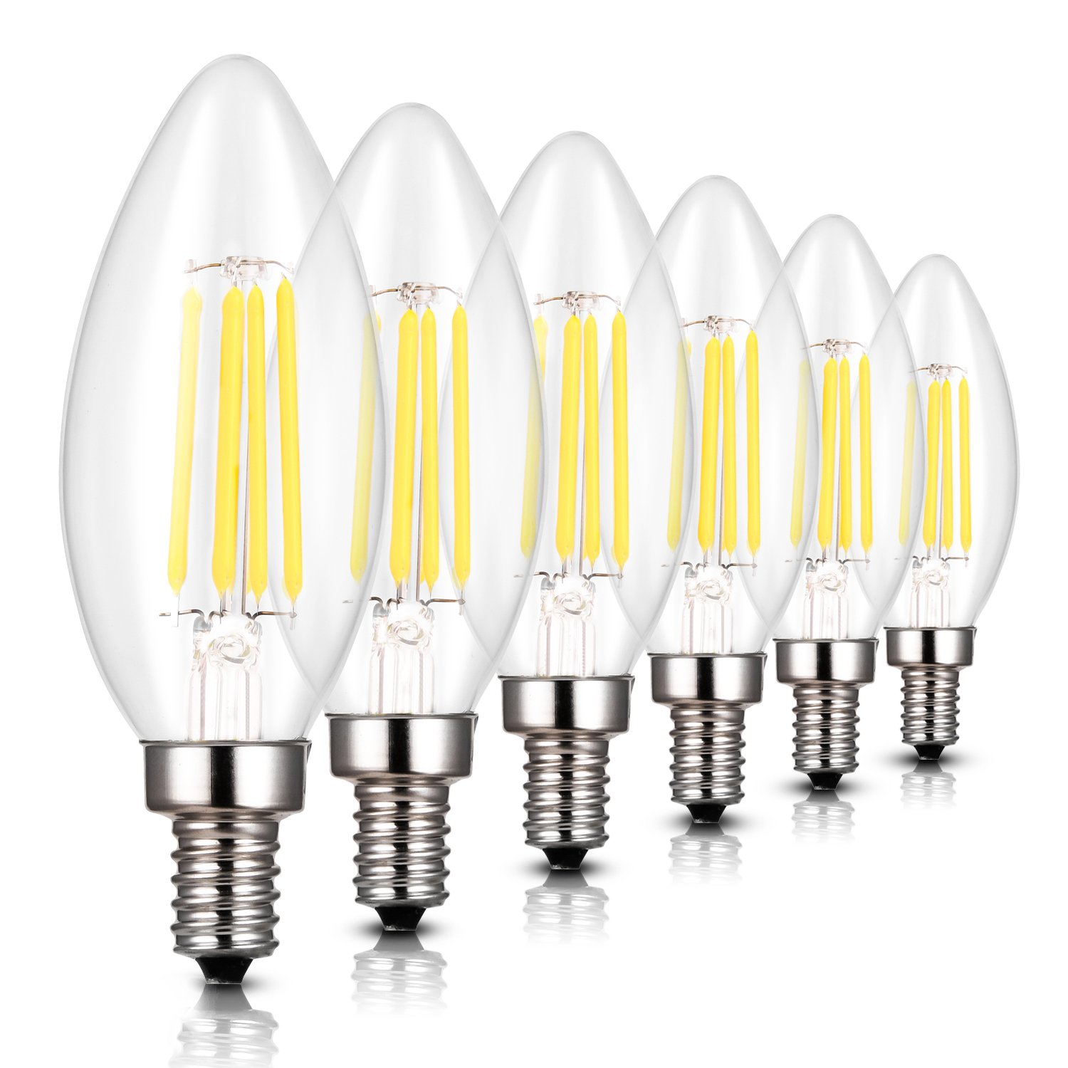 LED Candelabra Bulb,4w B11 Dimmable Chandelier LED Bulbs,40W Incandescent Equivalent, Torpedo Shape Bullet Top with 360° Beam Angle, Soft Warm White 2700K, 360 Lumens,E12 Candle Light Bulb , Pack of 6