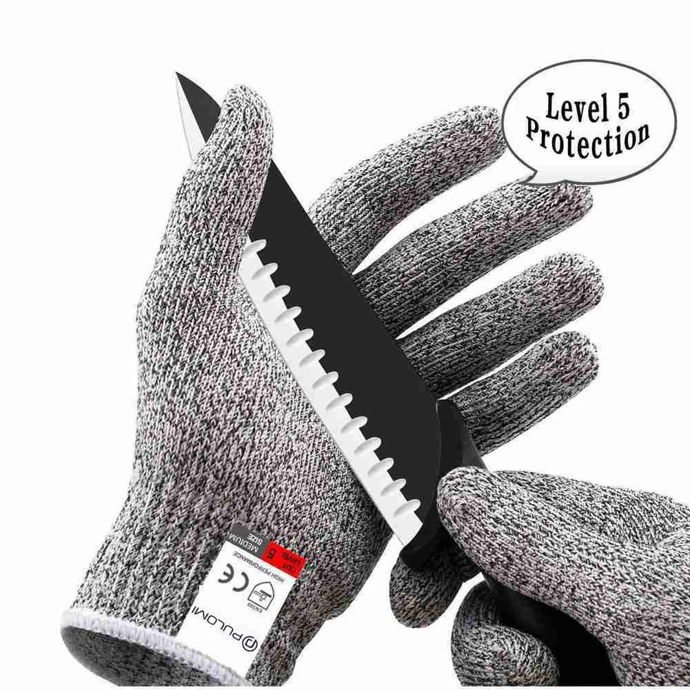 pulomi耐カット手袋食品グレードレベル5保護、安全キッチンカット用手袋オイスターShucking、魚フィレット処理、マンドリンスライス肉、切断and Wood Carving、1ペア B07798XKJ6 Small