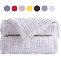 100% Cotton Throw Blankets-JSHANMEI Outdoor&Indoor Stripe PatternThick Cable Knit Blanket Warm&Cozy All Seasons for Snuggle TV Sofa Couch Bed