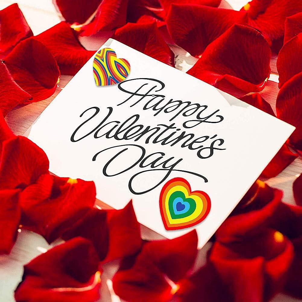 1000 Pegatinas Rollo Coraz/ón Elegantes-JPYZ Pegatinas con Forma de Coraz/ón Colorido de San Valent/ín Etiqueta Decorativa de Coraz/ón de Amor de San Valent/ín para Adorno San Valent/ín