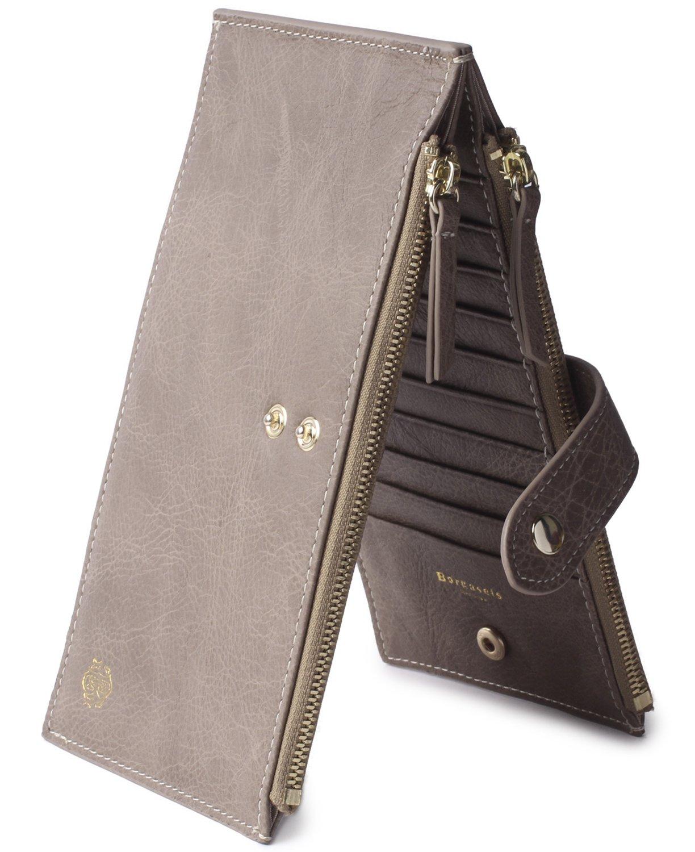 Borgasets RFID Blocking Women's Genuine Leather Wallet Credit Card Holder Zipper Purse (Vintage-Gray)