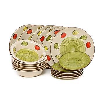 servizio piatti vegetable 18 pezzi in stoneware
