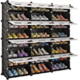 KOUSI Portable Shoe Rack Organizer Tower Shelf Storage Cabinet Stand Expandable Heels, Boots, Slippers, 8-Tiers Black