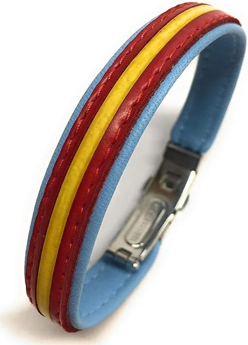 YOJAN PIEL / Pulsera Cuero España/Cierre Tipo Reloj Piel (Azul Claro Cinta ESPAÑA): Amazon.es: Joyería