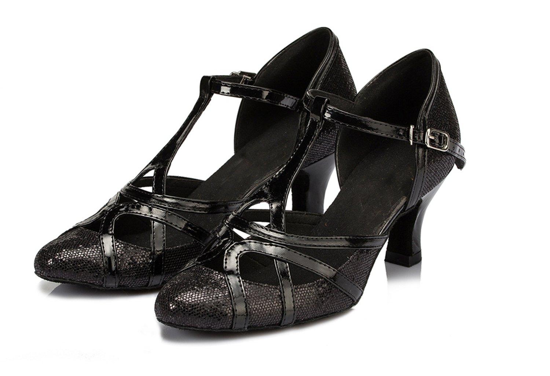 Minishion Women's T-strap Glitter Salsa Tango Ballroom Latin Dance Shoes Wedding Pumps B016TG8LSQ 9 B(M) US|Black-6cm Heel