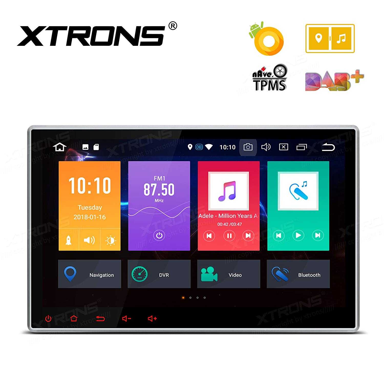Best Android Auto Head Unit 2020.Xtrons 10 1 Inch Android 8 0 Octa Core 4g Ram 32g Rom Hd Digital Multi Touch Screen Car Stereo Gps Radio Dvd Player Adjustable Viewing Angles Obd2