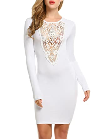 1bf0092c910 ACEVOG Women s Lace Neck Long Sleeve Bodycon Evening Cocktail Party ...